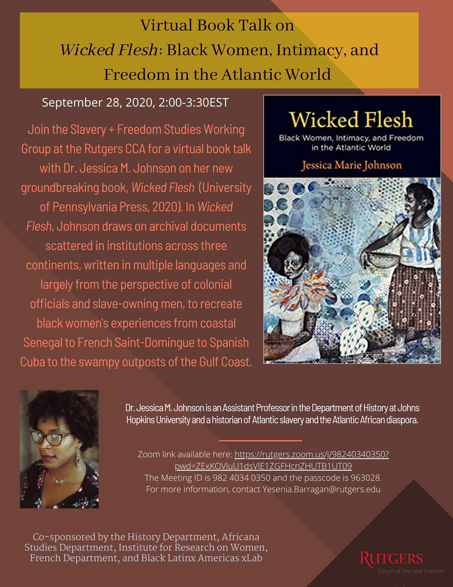 Virtual Book Talk on Wicked Flesh Black Women Intimacy and Freedom in the Atlantic World University of Pennsylvania Press 2020 2