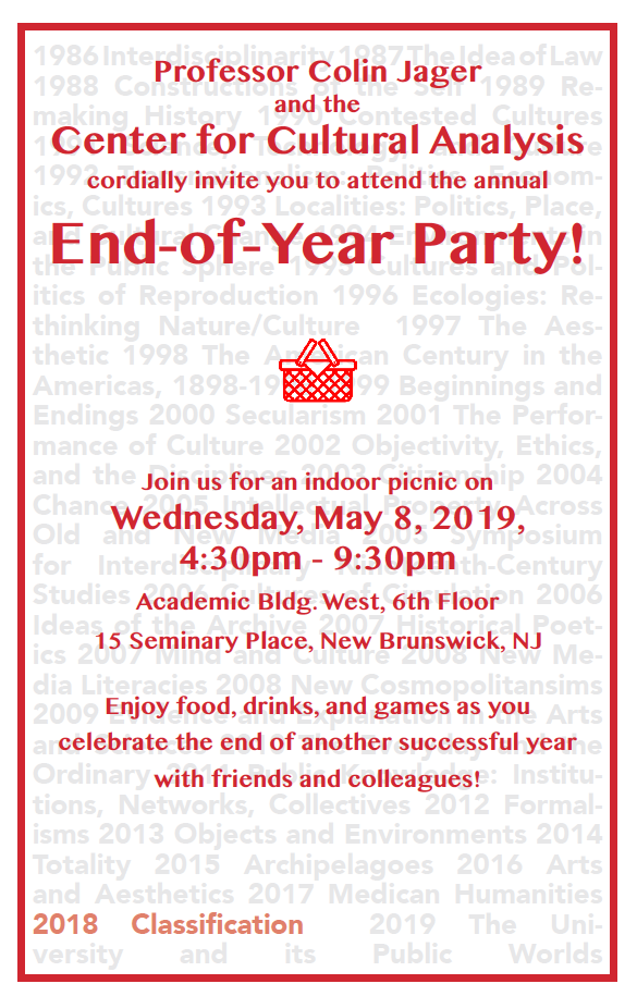 CCA Annual End-of-Year Party on May 8th, 2019 from 4:30-9:30pm.