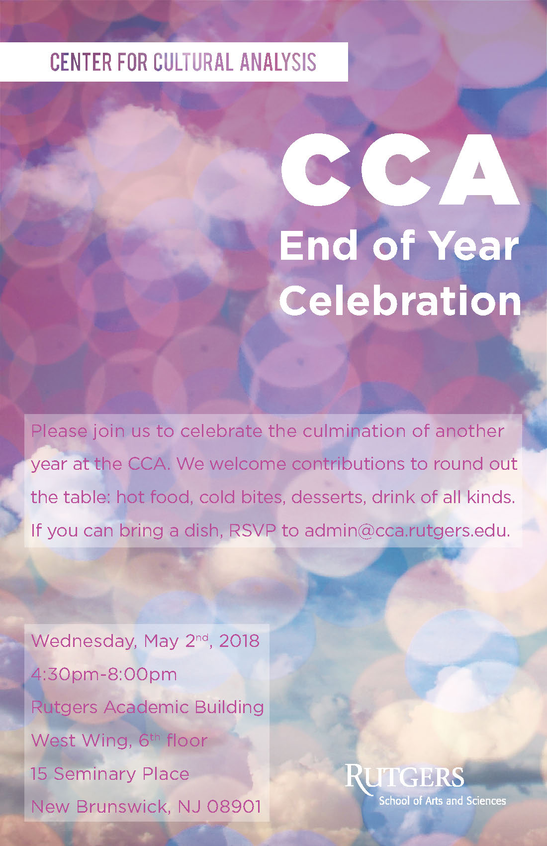 CCA end of year party: 5/2/18, 4:30-8pm, 15 Seminary Place, Academic Building 6th floor