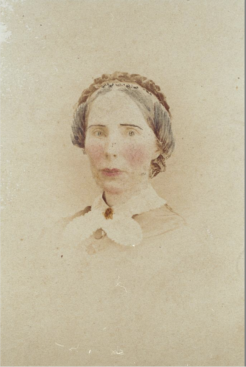 Fredricks, Charles D. & Co. (New York, N.Y.), Head and shoulders portrait of Marian Blackwell, hand-colored photographic print, c. 1875.